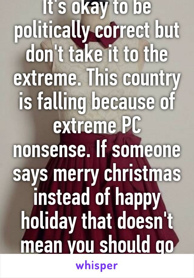 It's okay to be politically correct but don't take it to the extreme. This country is falling because of extreme PC nonsense. If someone says merry christmas instead of happy holiday that doesn't mean you should go crazy w/ PC