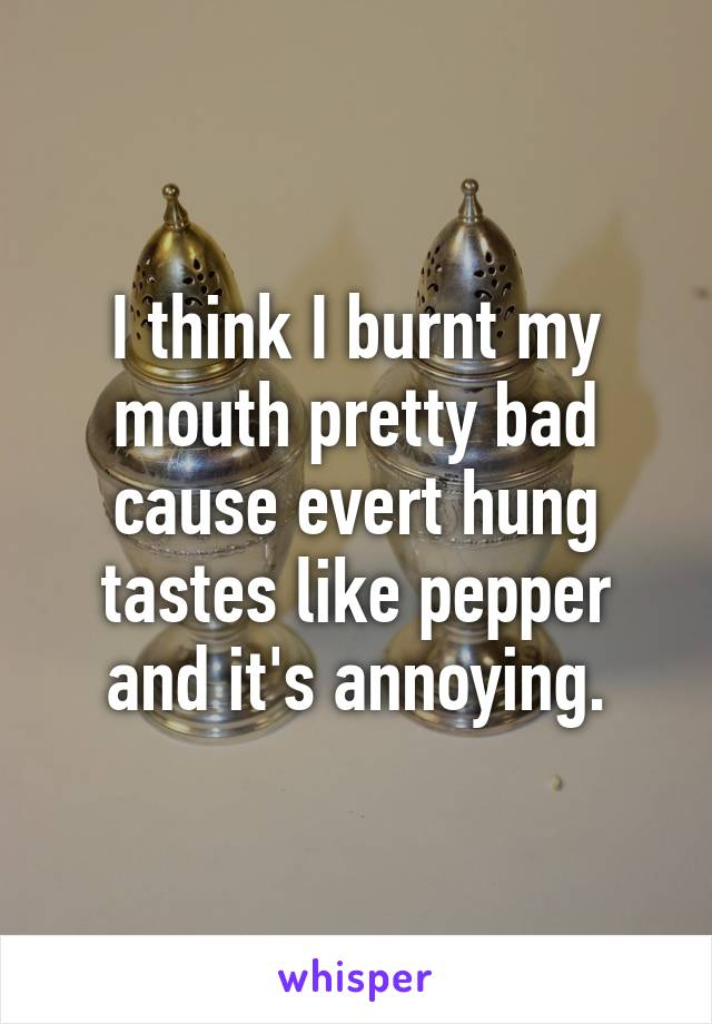 I think I burnt my mouth pretty bad cause evert hung tastes like pepper and it's annoying.