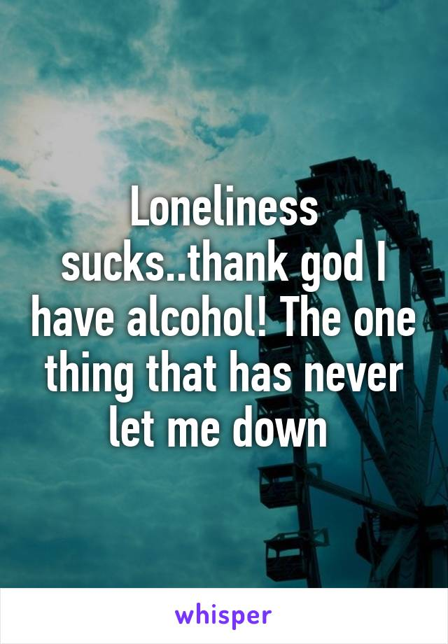 Loneliness sucks..thank god I have alcohol! The one thing that has never let me down