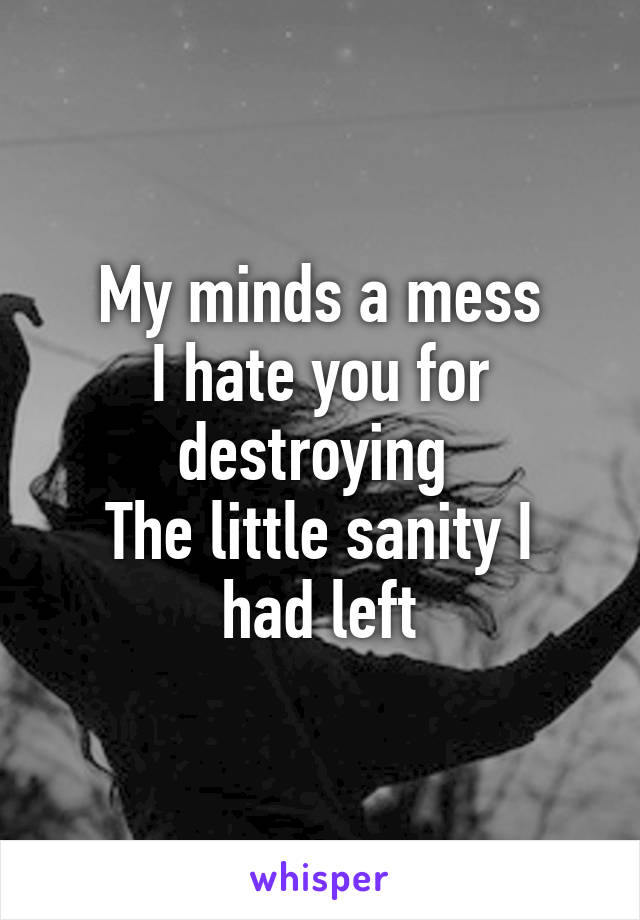 My minds a mess I hate you for destroying  The little sanity I had left