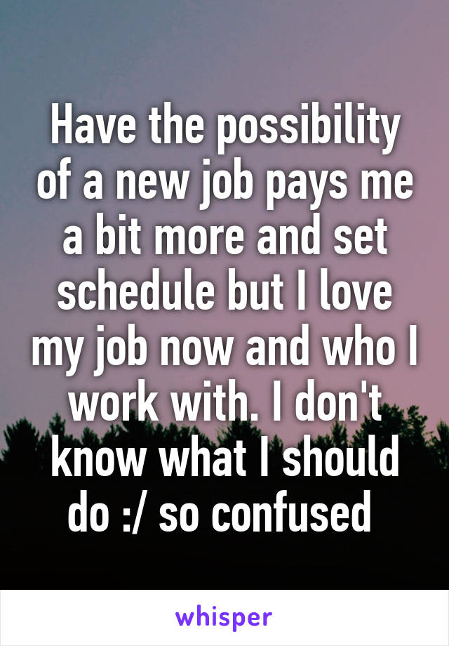 Have the possibility of a new job pays me a bit more and set schedule but I love my job now and who I work with. I don't know what I should do :/ so confused