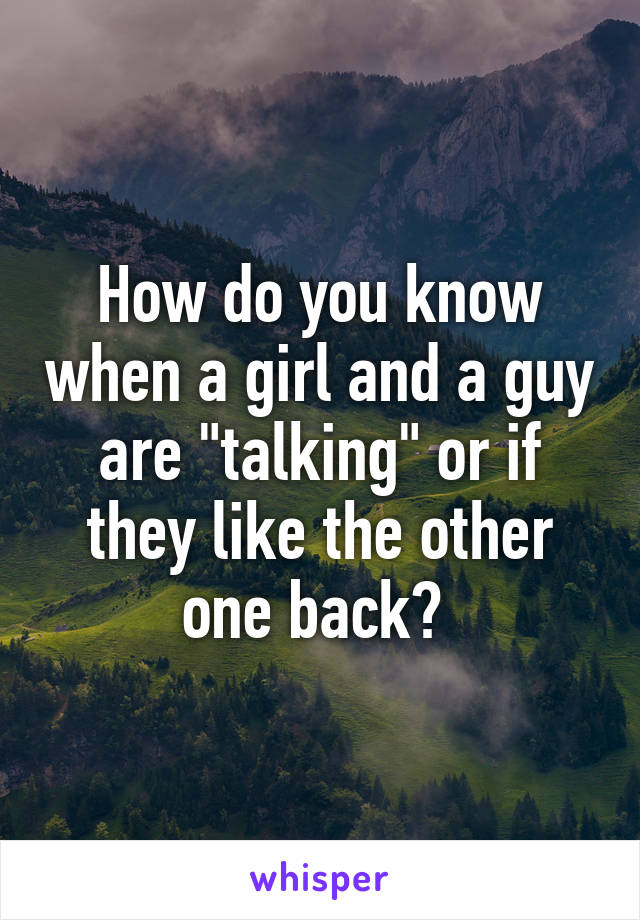 """How do you know when a girl and a guy are """"talking"""" or if they like the other one back?"""