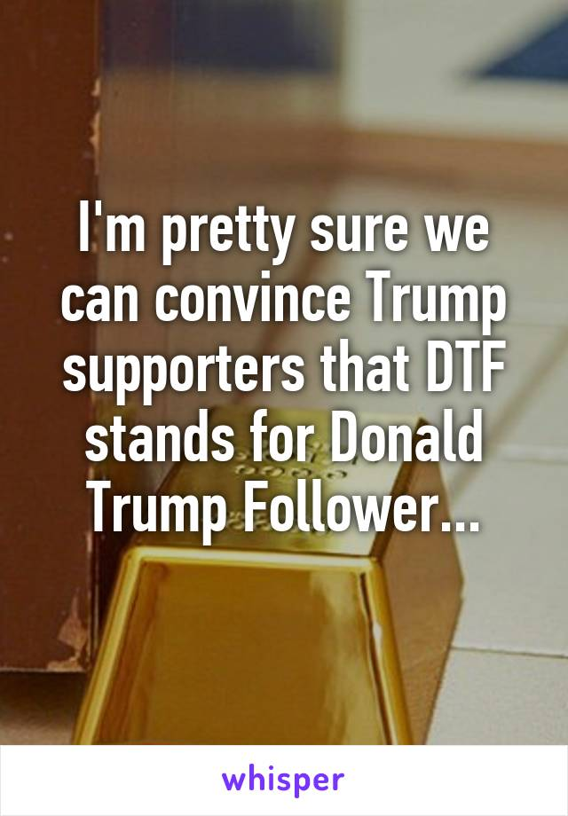 I'm pretty sure we can convince Trump supporters that DTF stands for Donald Trump Follower...