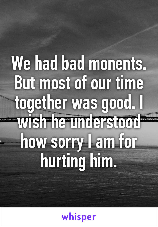 We had bad monents. But most of our time together was good. I wish he understood how sorry I am for hurting him.