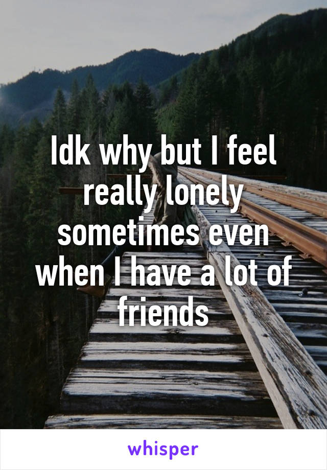 Idk why but I feel really lonely sometimes even when I have a lot of friends