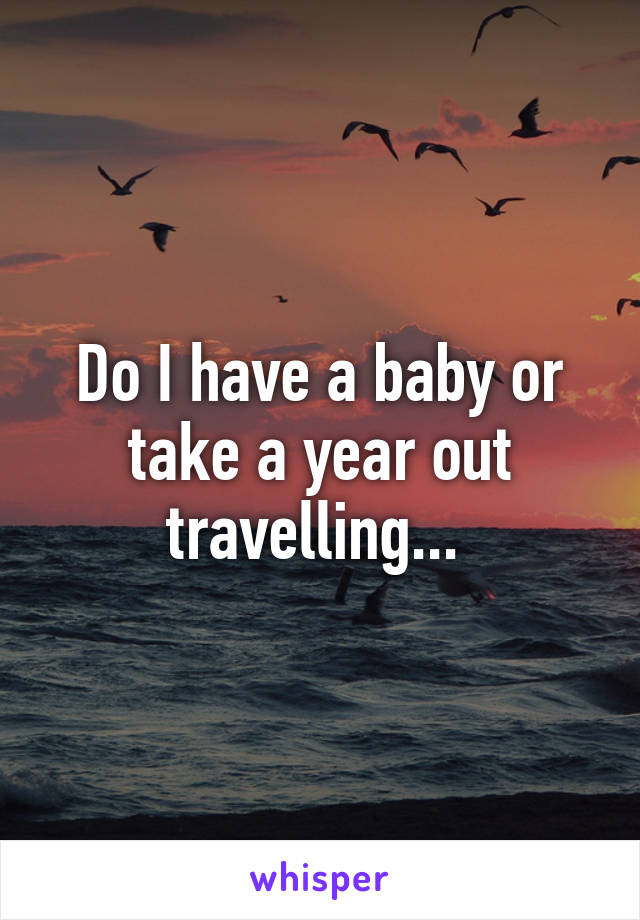 Do I have a baby or take a year out travelling...