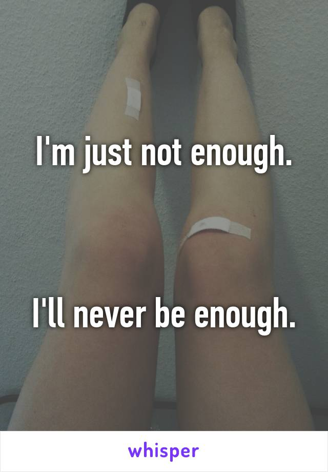 I'm just not enough.    I'll never be enough.