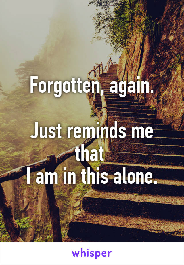 Forgotten, again.  Just reminds me that  I am in this alone.