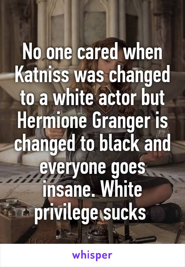 No one cared when Katniss was changed to a white actor but Hermione Granger is changed to black and everyone goes insane. White privilege sucks