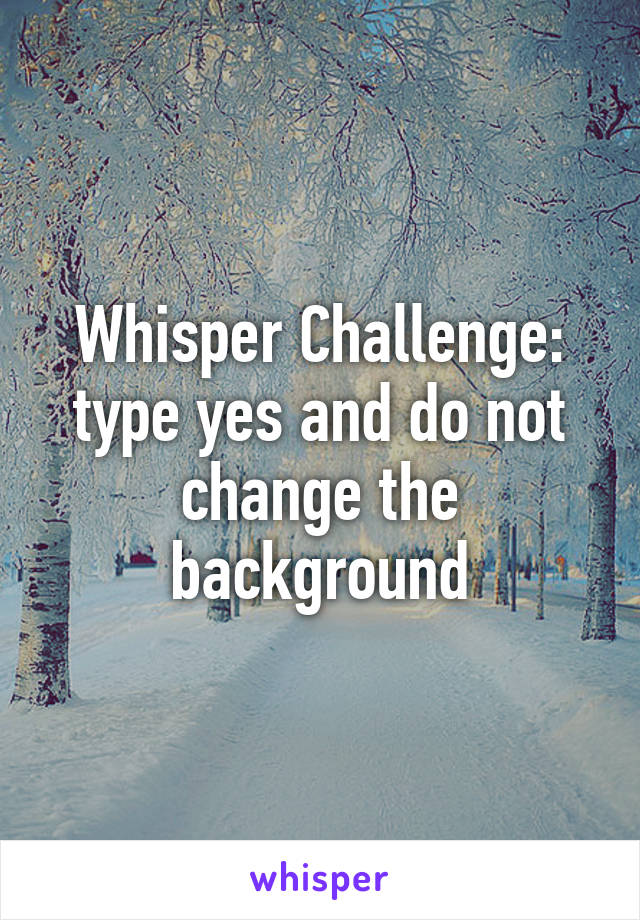 Whisper Challenge: type yes and do not change the background