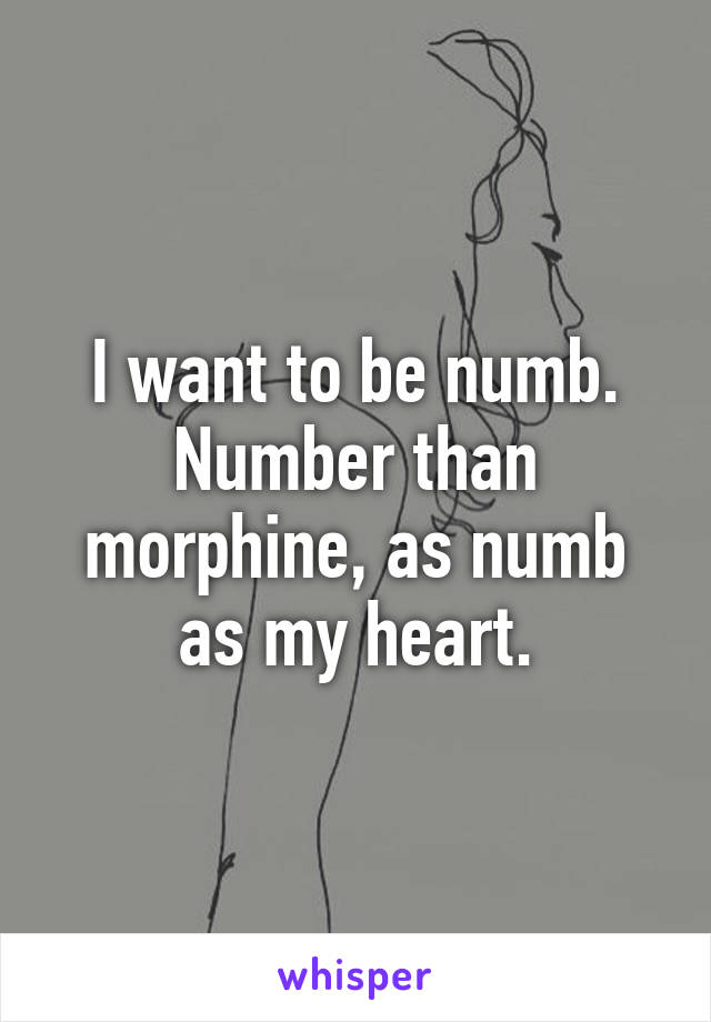 I want to be numb. Number than morphine, as numb as my heart.