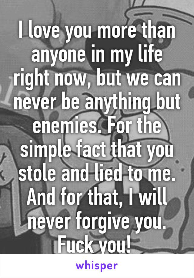 I love you more than anyone in my life right now, but we can never be anything but enemies. For the simple fact that you stole and lied to me. And for that, I will never forgive you. Fuck you!