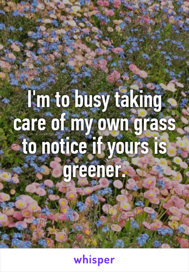 I'm to busy taking care of my own grass to notice if yours is greener.