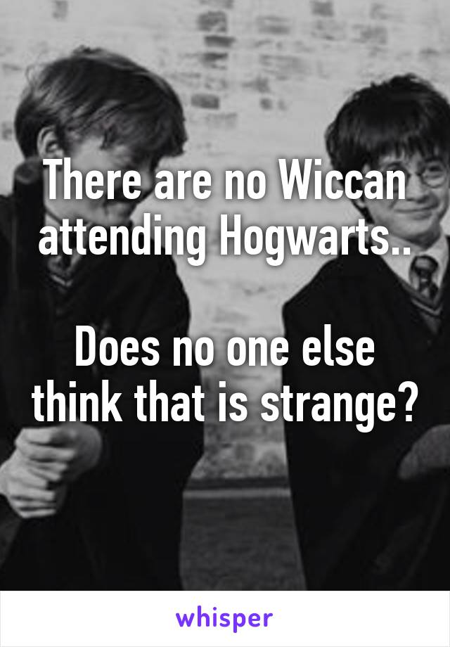 There are no Wiccan attending Hogwarts..  Does no one else think that is strange?