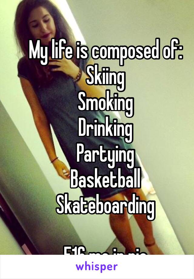 My life is composed of: Skiing Smoking Drinking Partying Basketball Skateboarding  F16 me in pic