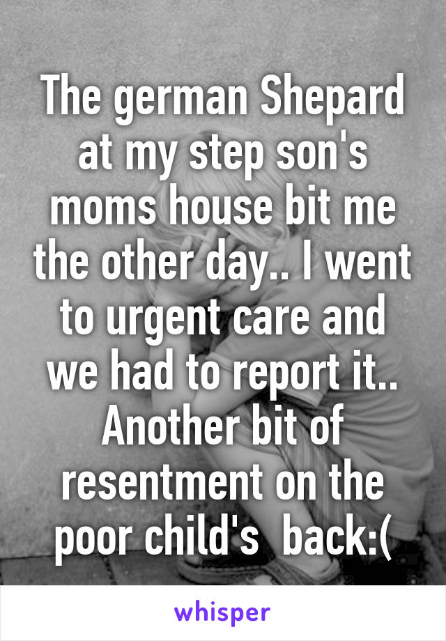 The german Shepard at my step son's moms house bit me the other day.. I went to urgent care and we had to report it.. Another bit of resentment on the poor child's  back:(