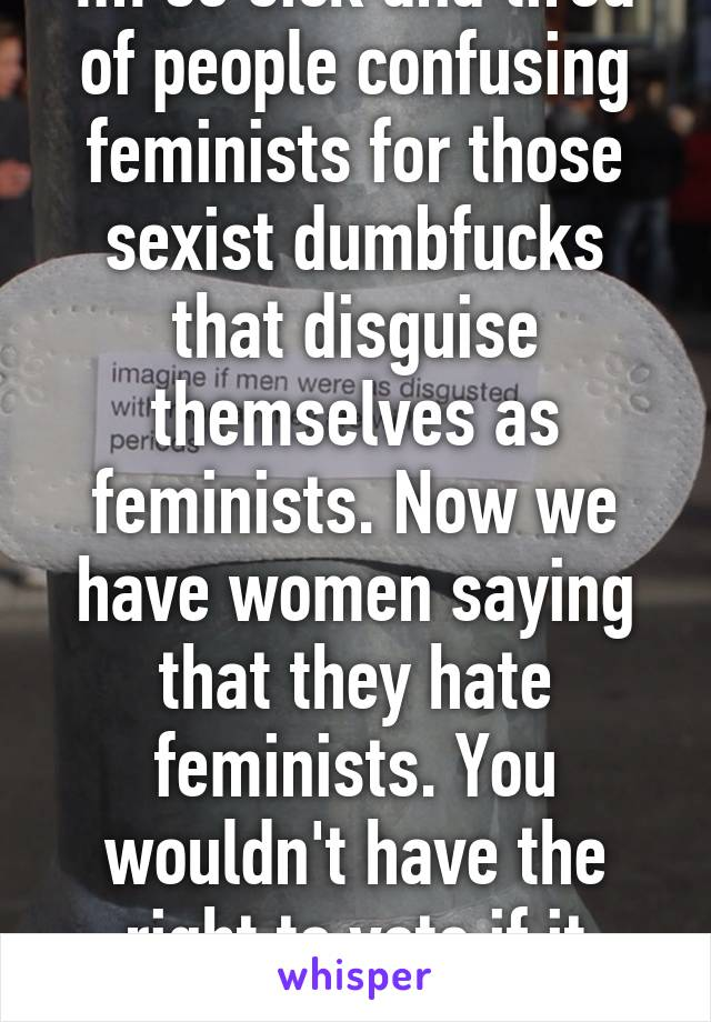 Im so sick and tired of people confusing feminists for those sexist dumbfucks that disguise themselves as feminists. Now we have women saying that they hate feminists. You wouldn't have the right to vote if it weren't for feminism