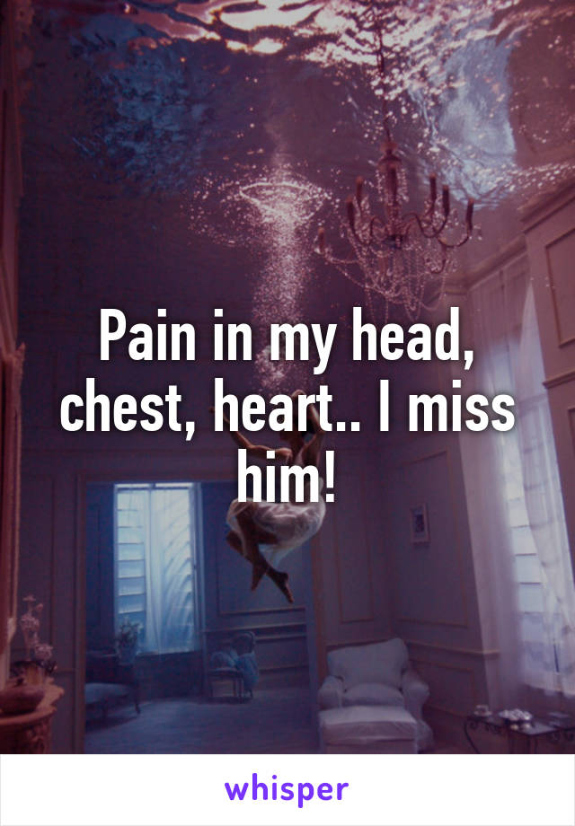 Pain in my head, chest, heart.. I miss him!