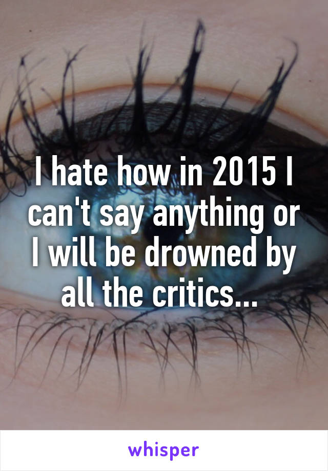 I hate how in 2015 I can't say anything or I will be drowned by all the critics...