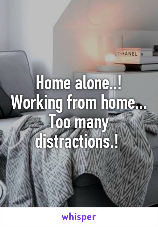Home alone..! Working from home... Too many distractions.!