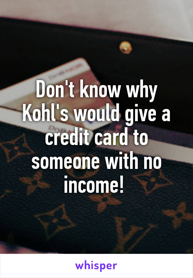 Don't know why Kohl's would give a credit card to someone with no income!