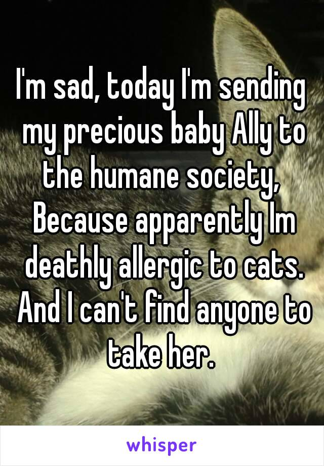 I'm sad, today I'm sending my precious baby Ally to the humane society,  Because apparently Im deathly allergic to cats. And I can't find anyone to take her.