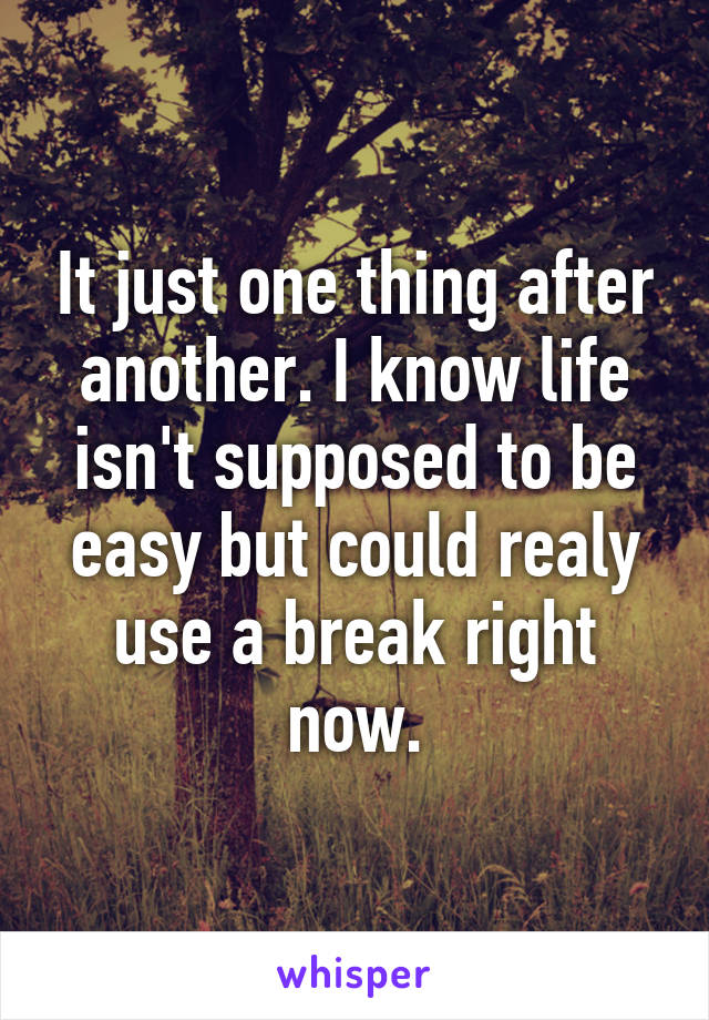 It just one thing after another. I know life isn't supposed to be easy but could realy use a break right now.