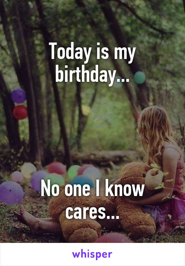 Today is my birthday...     No one I know cares...
