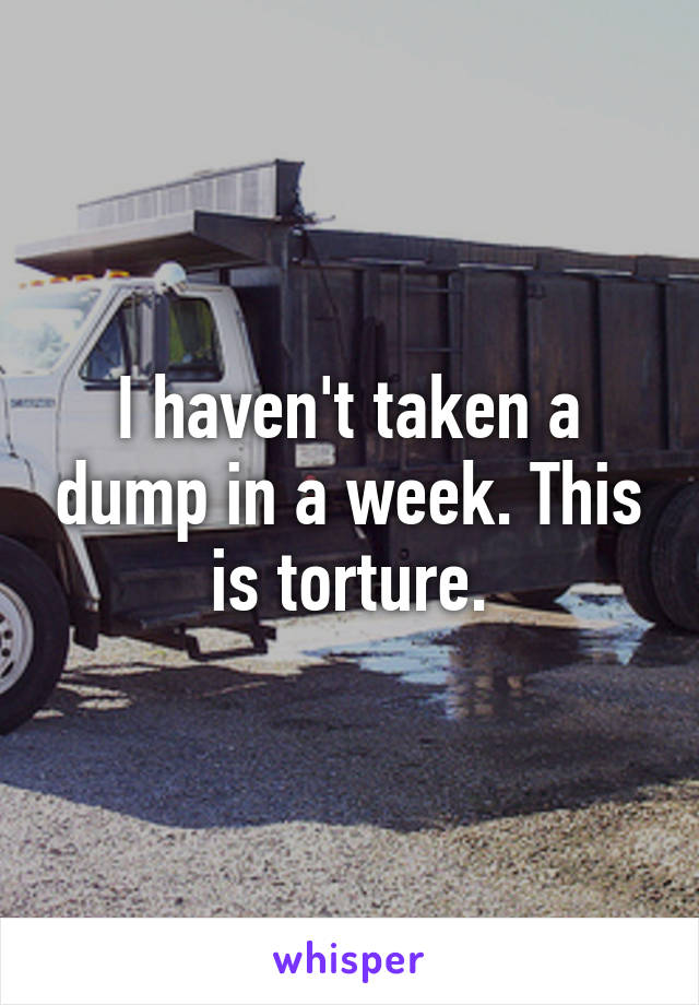 I haven't taken a dump in a week. This is torture.