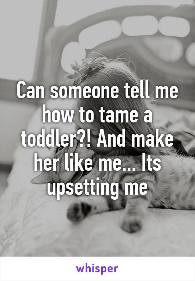 Can someone tell me how to tame a toddler?! And make her like me... Its upsetting me