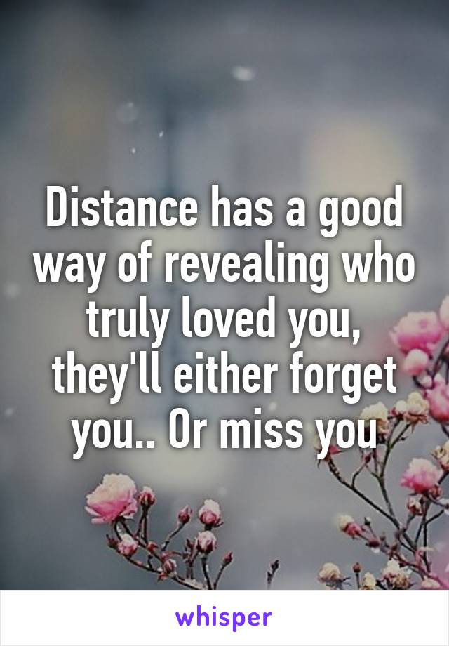 Distance has a good way of revealing who truly loved you, they'll either forget you.. Or miss you