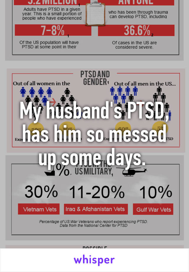 My husband's PTSD, has him so messed up some days.