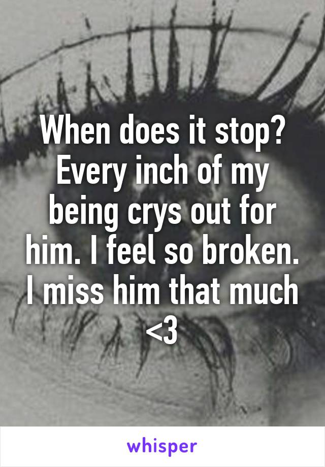 When does it stop? Every inch of my being crys out for him. I feel so broken. I miss him that much <\3
