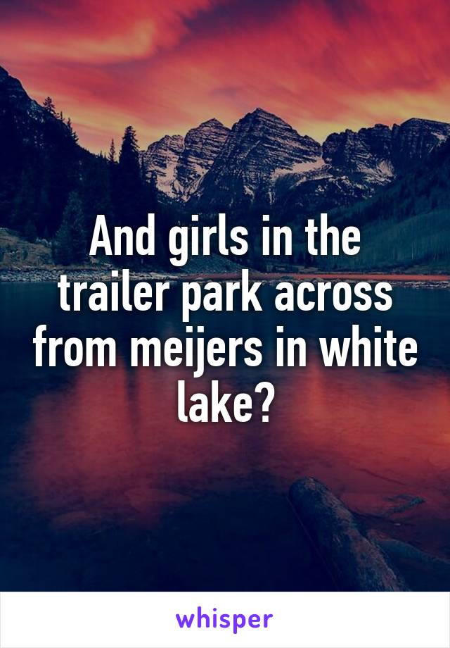 And girls in the trailer park across from meijers in white lake?
