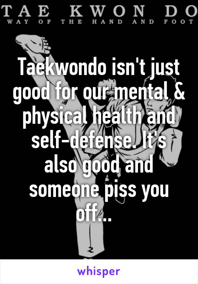 Taekwondo isn't just good for our mental & physical health and self-defense. It's also good and someone piss you off...