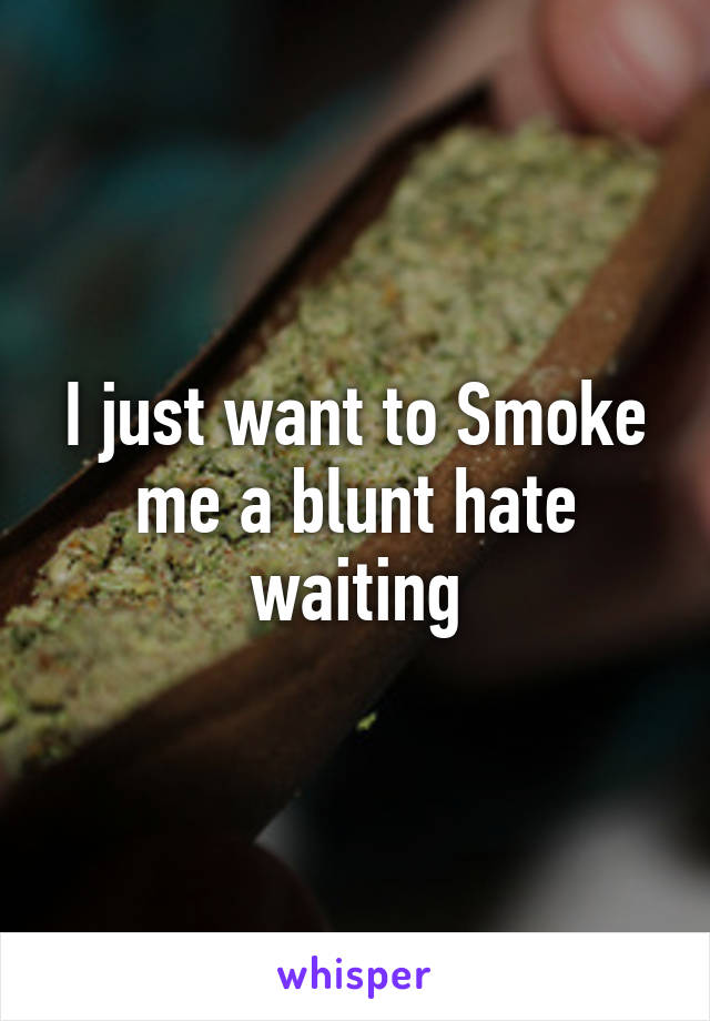 I just want to Smoke me a blunt hate waiting