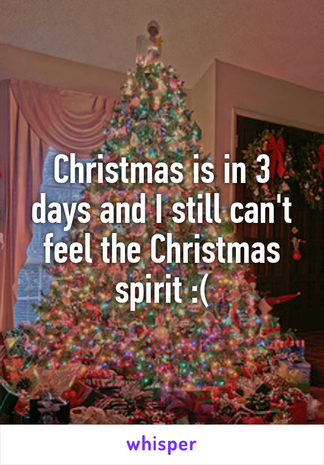 Christmas is in 3 days and I still can't feel the Christmas spirit :(