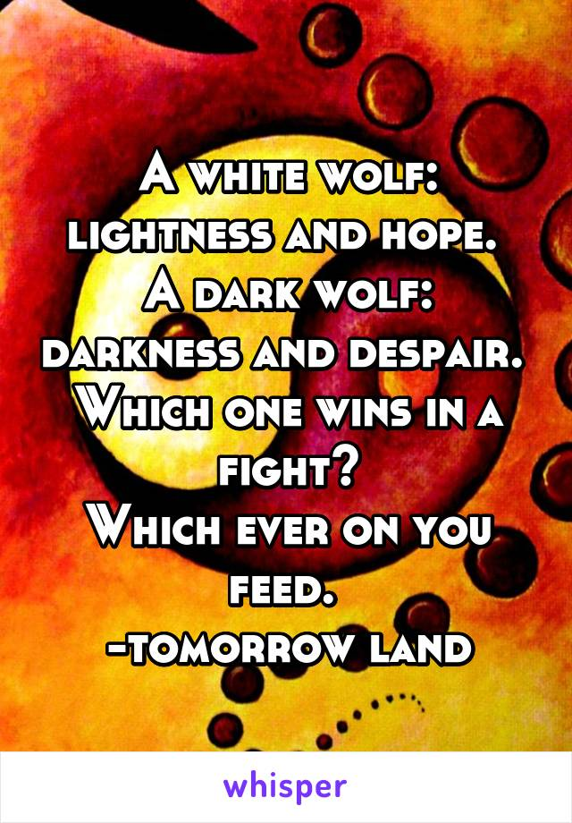 A white wolf: lightness and hope.  A dark wolf: darkness and despair.  Which one wins in a fight? Which ever on you feed.  -tomorrow land