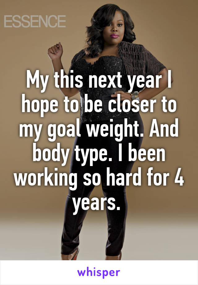 My this next year I hope to be closer to my goal weight. And body type. I been working so hard for 4 years.
