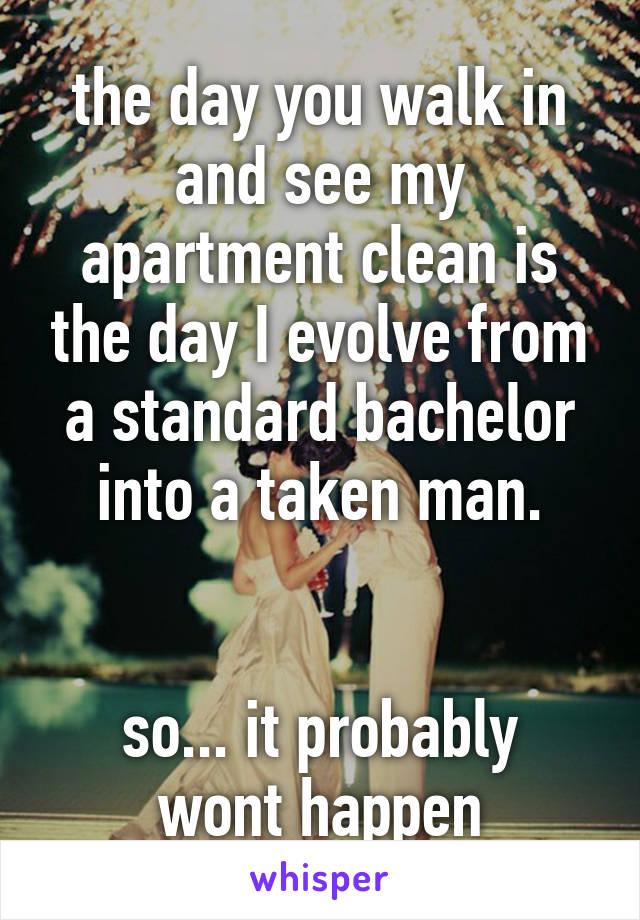 the day you walk in and see my apartment clean is the day I evolve from a standard bachelor into a taken man.   so... it probably wont happen