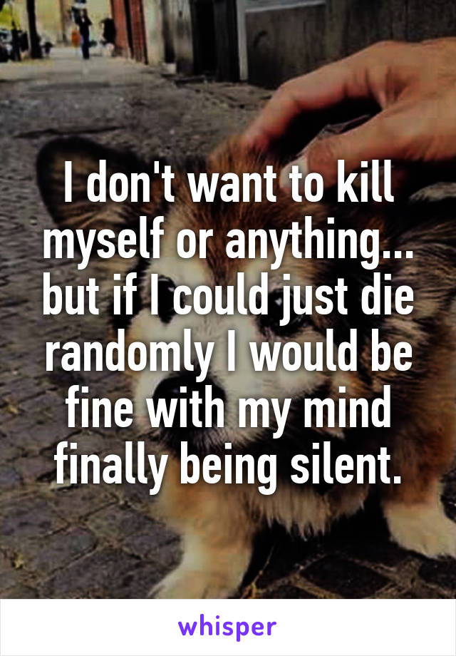 I don't want to kill myself or anything... but if I could just die randomly I would be fine with my mind finally being silent.