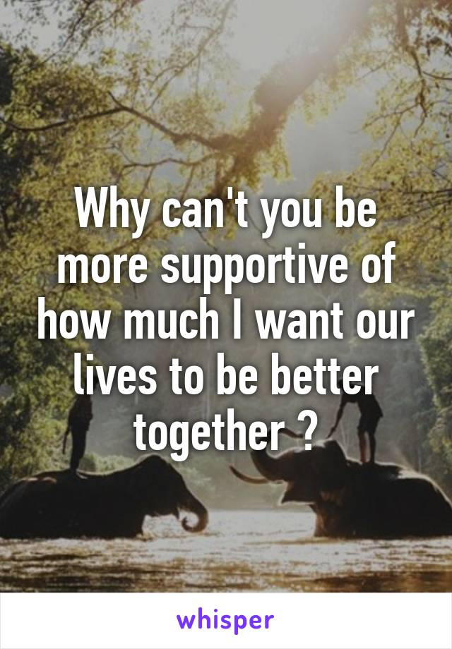 Why can't you be more supportive of how much I want our lives to be better together ?