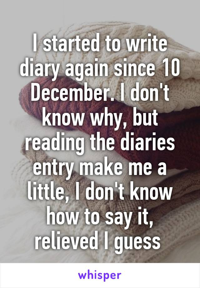 I started to write diary again since 10 December. I don't know why, but reading the diaries entry make me a little, I don't know how to say it, relieved I guess