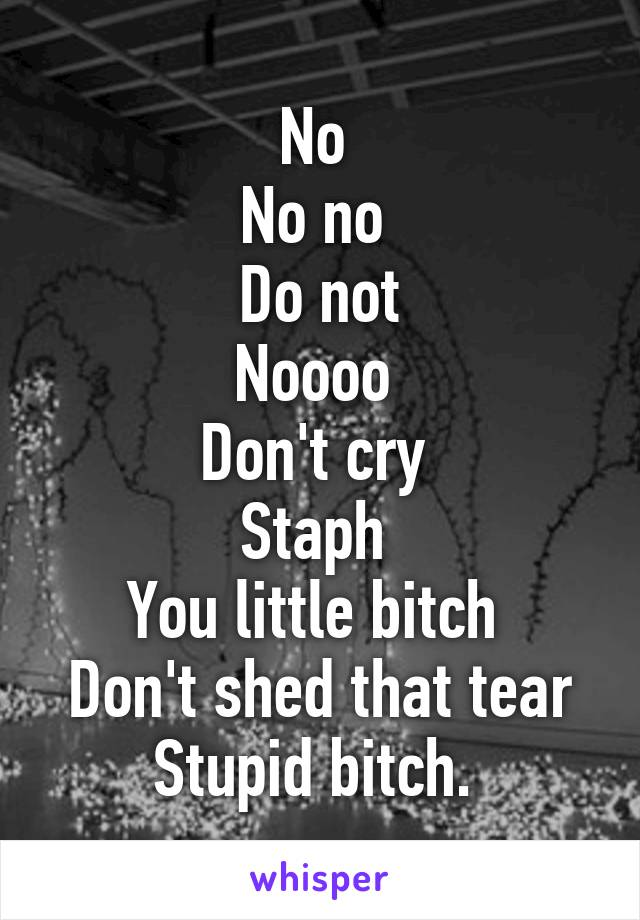 No  No no  Do not Noooo  Don't cry  Staph  You little bitch  Don't shed that tear Stupid bitch.