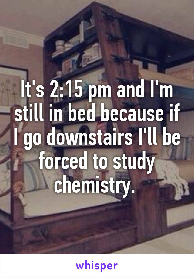 It's 2:15 pm and I'm still in bed because if I go downstairs I'll be forced to study chemistry.