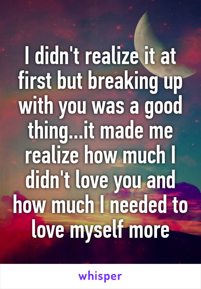 I didn't realize it at first but breaking up with you was a good thing...it made me realize how much I didn't love you and how much I needed to love myself more