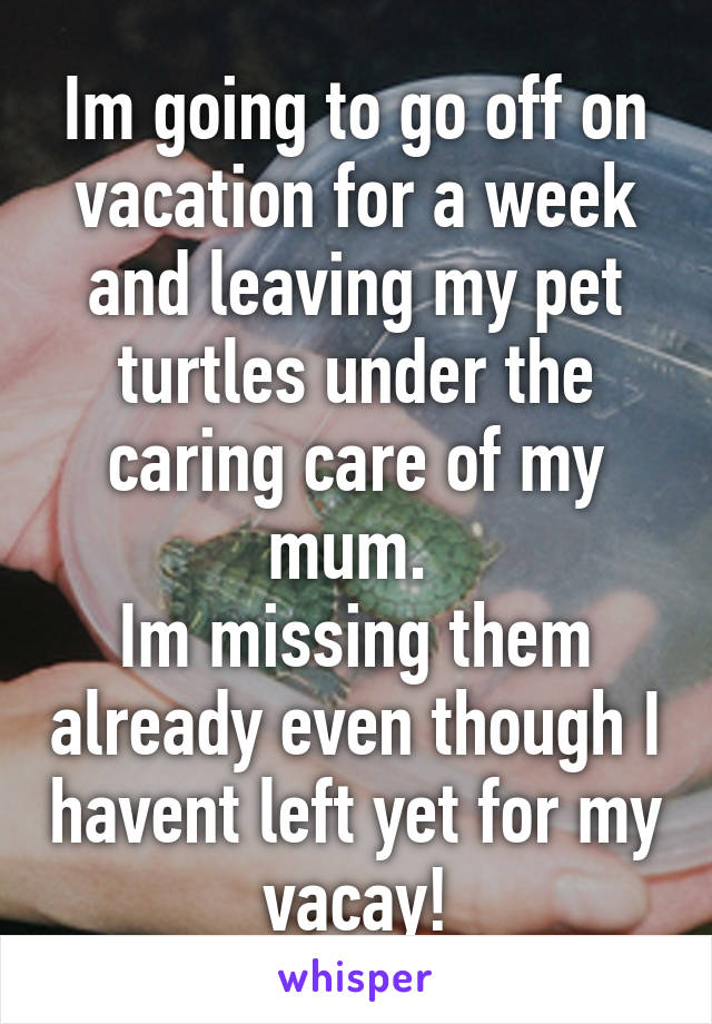 Im going to go off on vacation for a week and leaving my pet turtles under the caring care of my mum.  Im missing them already even though I havent left yet for my vacay!