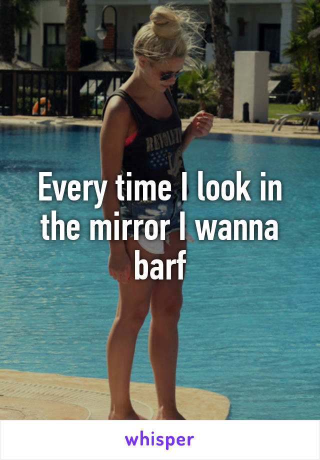 Every time I look in the mirror I wanna barf