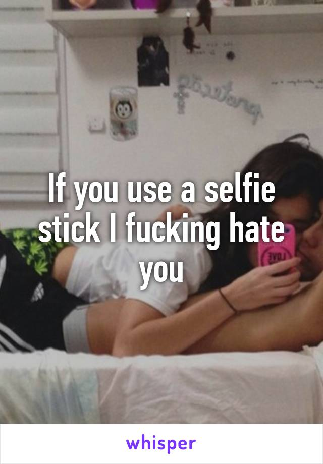 If you use a selfie stick I fucking hate you