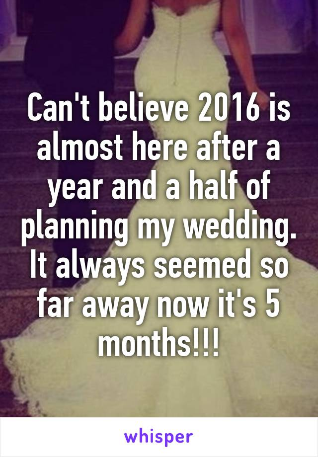 Can't believe 2016 is almost here after a year and a half of planning my wedding. It always seemed so far away now it's 5 months!!!